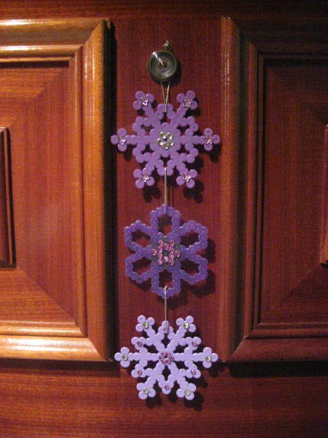 Purple Snowflakes Hama Beads by Zinian Bruja