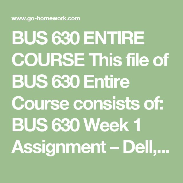 BUS 630 ENTIRE COURSE This file of BUS 630 Entire Course consists of:  BUS 630 Week 1 Assignment – Dell, Inc..doc BUS 630 Week 1 DQ 1 Theory of Constraints.doc BUS 630 Week 1 DQ 2 Kranbrack Corporation.doc BUS 630 Week 2 Assignment – Basic CVP Analysis.doc BUS 630 Week 2 DQ 1 Downsizing and fixed cost.doc BUS 630 Week 2 DQ 2 Direct Labor Variable or Fixed Cost.doc BUS 630 Week 3 Assignment – JetBlue Airways.doc BUS 630 Week 3 DQ 1 Fixed Labor.doc BUS 630 Week 3 DQ 2 Profitability.doc BUS 630…