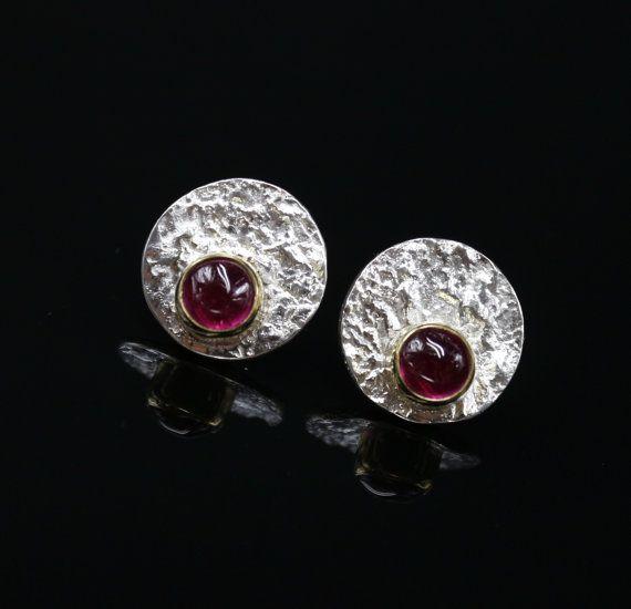 Серебряные серьги гвоздики с рубином DESIRE от SilverJewelryElena