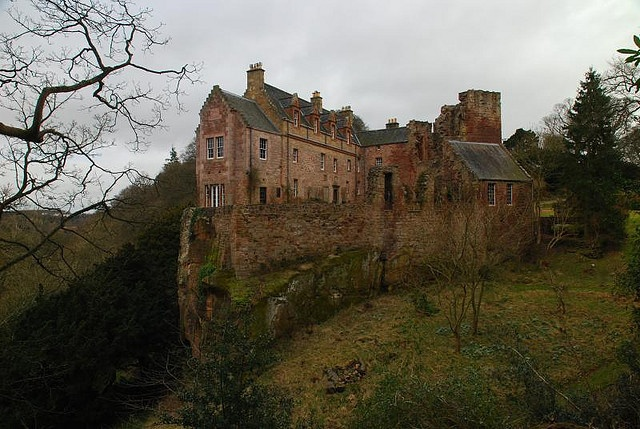Hawthornden Castle, the River North Esk in Midlothian, Scotland