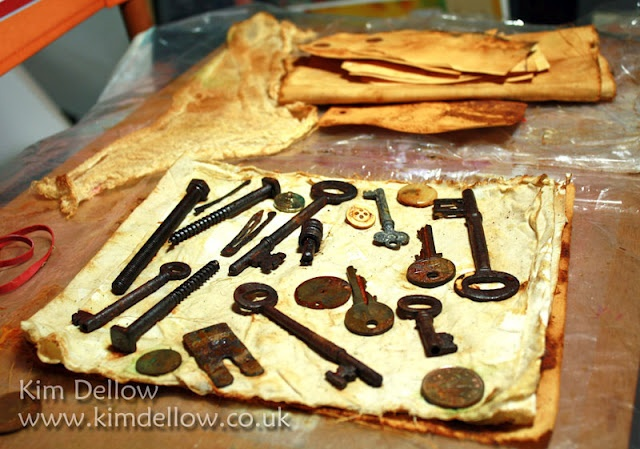 Rust metal, fabric, paper and plastic using Rusting Powder from Crafty Notions