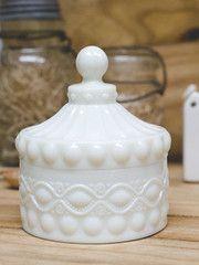 White Milk Glass Candy Dish - Large