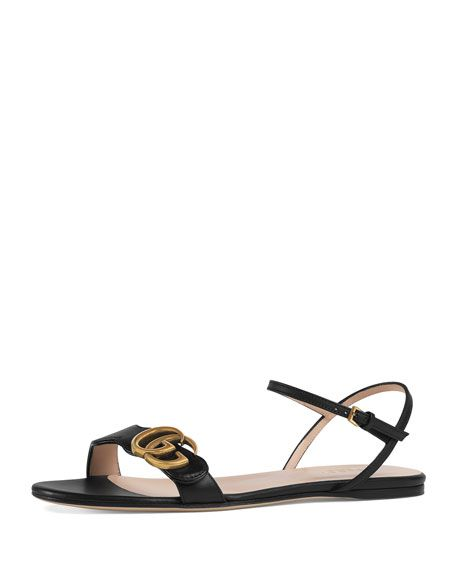 23582f185 Marmont Flat Double-G Leather Sandal | -shoes- | Leather sandals ...