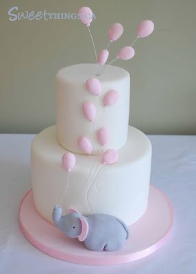 SweetThings: Elephant Baby Shower Cake can make balloons pink or blue to be unisex
