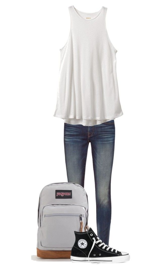 """School outfit"" by rockar ❤ liked on Polyvore featuring Frame, RVCA, JanSport and Converse"