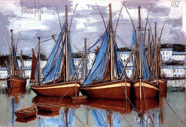 Bernard BUFFET ( 1928 - 1999 ) - Peintre Francais - French Painter Audierne, les filets bleus