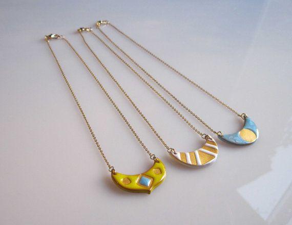 LUNA Mondsichel Keramik Halskette feminine von satorstudio auf Etsy