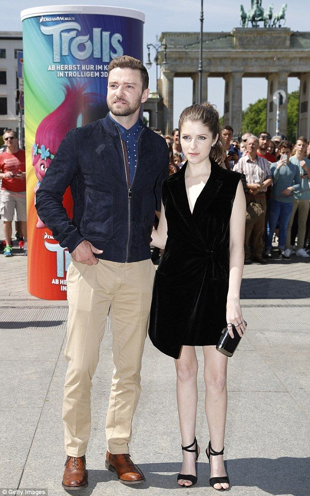 On the promo trail: Anna Kendrick and Justin Timberlake attend a photocall for the animated movie Trolls in Berlin on Tuesday
