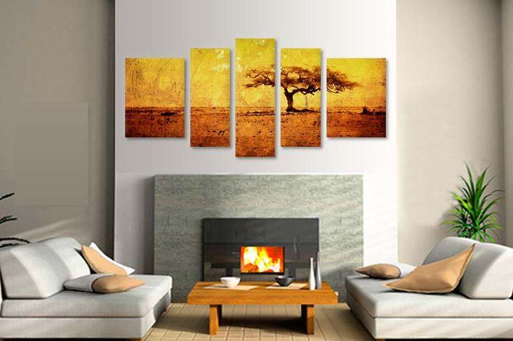 Tablouri Savana africana 1529  Dimensiuni: 2x 30x50 + 2x 25x60 + 1x 25x70 cm