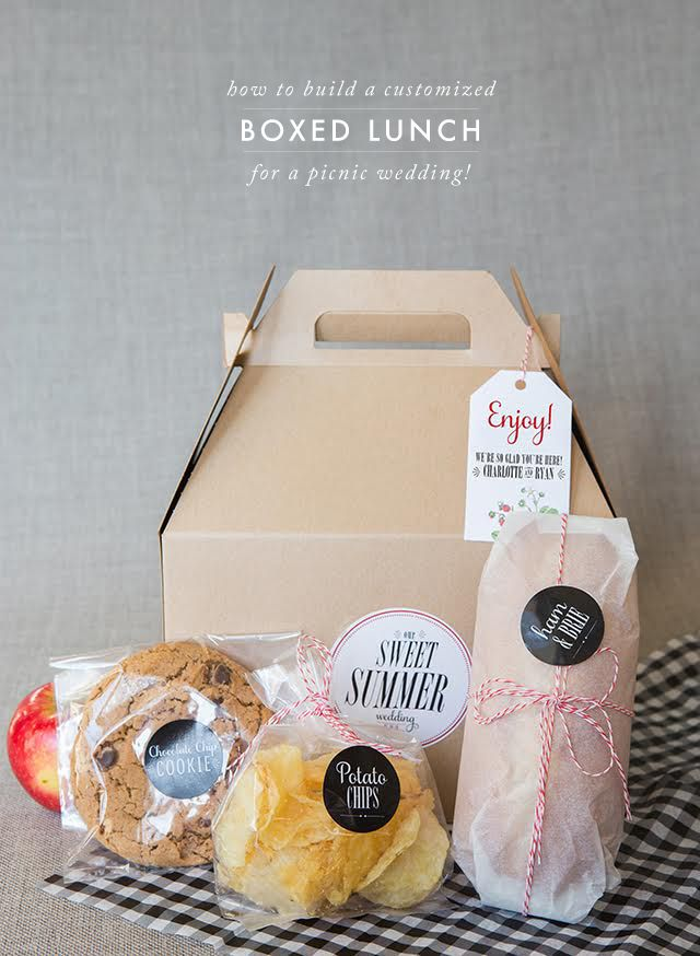 In continuing with our BBQ theme: Southern Spring BBQ inspiration board, Relaxed and Elegant Spring BBQ, and our three DIY's here, here and here, we've put together the most adorable boxed lunch perfe