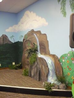 RUSHING WATERS - Waterfall against wall (for backdrop). Instead of painting directly on wall, we can paint mountain on cardboard.