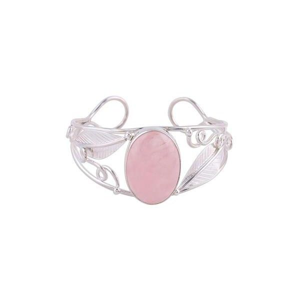 NOVICA Sterling Silver Cuff Rose Quartz Bracelet ($156) ❤ liked on Polyvore featuring jewelry, bracelets, clothing & accessories, cuff, rose quartz, hinged cuff bracelet, sterling silver bangles, cuff bangle, sterling silver jewellery and leaf bangle