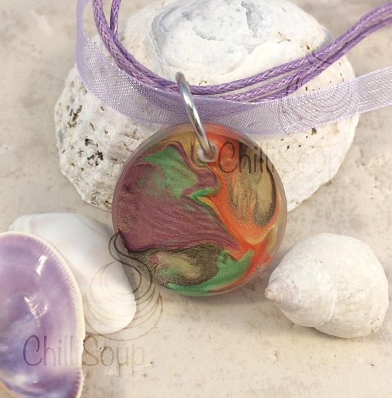 Eerie flow liquid effect pendant  organza ribbon necklace