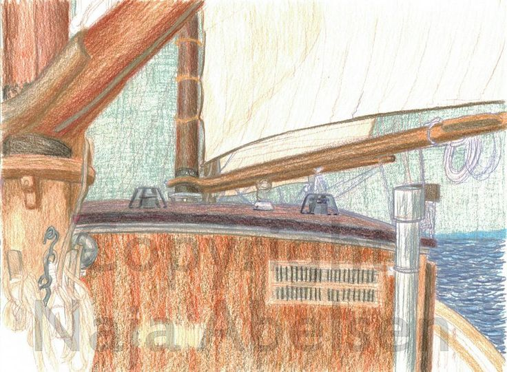 Unfinished study aboard the danish schooner Fylla. A3 format. Coloured pencils. By Naja Abelsen. 2014. The study was made while sailing: the sails changed placed as we crossed or changed direction...also made while having art students to help...lots of details dissappeared due to bad scanning.