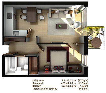 One bed flat floor plan