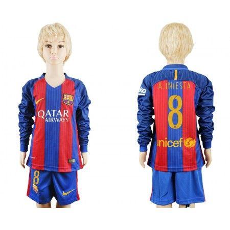 Barcelona Trøje Børn 16-17 #Andres Iniesta 8 Hjemmebanetrøje Lange ærmer,222,01KR,shirtshopservice@gmail.com