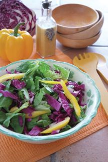 Mardi Gras Salad: 1 head lettuce 1 cup purple cabbage, sliced 1 cup yellow bell pepper, sliced Dressing: 2 Tbsp. Creole mustard 2 Tbsp. vinegar (cane, red wine, or rice) 3⁄4 cup oil