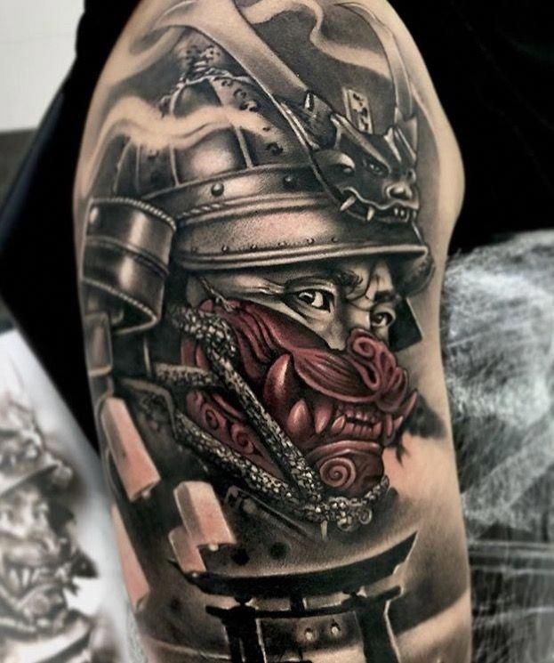 I Truly Appreciate The Different Colors Outlines And Linework This Is Really A Wonderful Idea If Sleeve Tattoos Samurai Tattoo Sleeve Samurai Tattoo Design