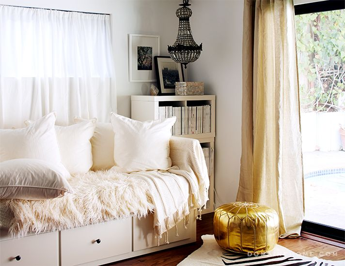 Before and After: E! Chief News Correspondent Melanie Bromley's Retro Home Gets a Dramatic Makeover // flokati throw, white daybed, gold pouf, crystal chandelier, Ikea LACK shelf, linen curtains, zebra hide rug: Small Closet Storage, Ikea Daybeds, Guest Bedrooms, Tiny Closet, Storage Idea, Crystals Chandeliers, Guest Rooms, Neutral Bedrooms, Closet Work