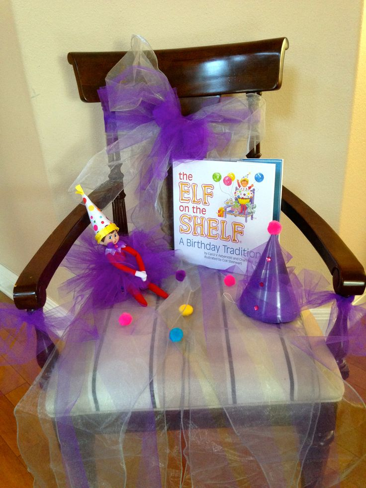 Elf On The Shel Birthday Tradition. A couple minutes make-over chair. No sewing / No gluing.