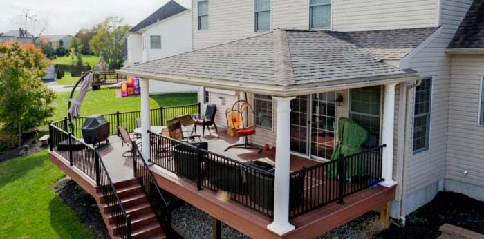Hip porch roof back porch roof pinterest different for Porch roof types