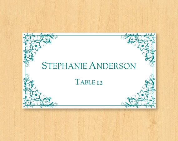 DIY wedding printable place card template for MS by DIYWedTemplate