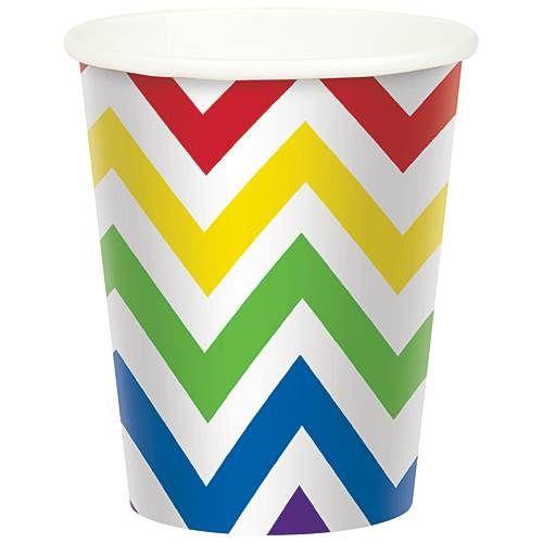 Rainbow Chevron Paper Cups
