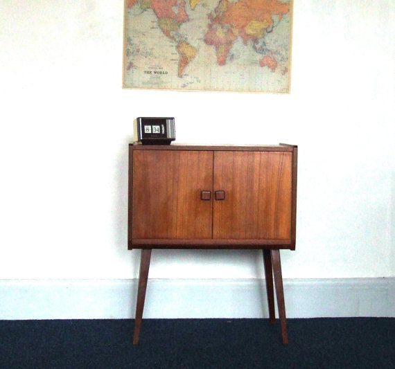 Mid Century Lp Vinyl Record Player Cabinet Wooden Stand