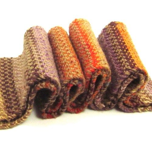 Farewell Fall Fashion Knit Scarf in Autumn Colors Brown Pumpkin Mauve