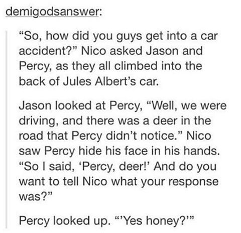 Percy Jackson - Community - Google+---- that time where Percy's sass came to bite him in the ass.