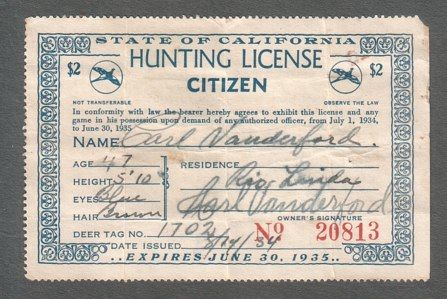 State of California Hunting License Citizen, 1934 Blue Text