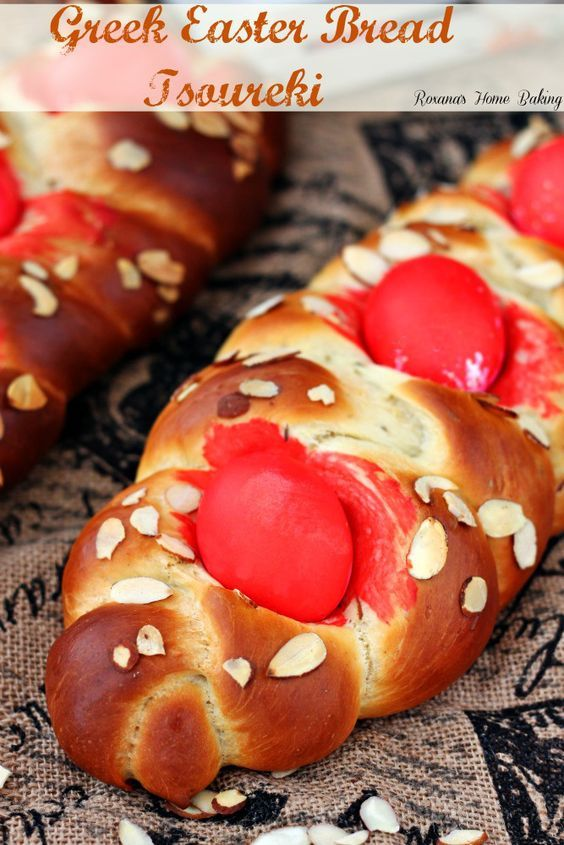 Greek Easter bread – Tsoureki - soft, sweet, yeast egg-enriched bread flavored with citrus and aniseed.