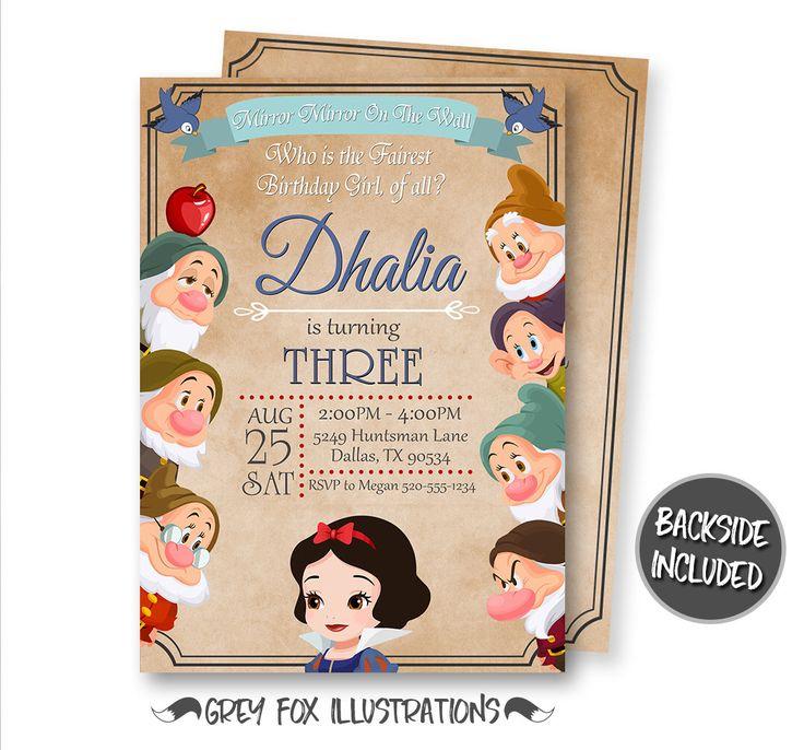 Snow White Invitation, Snow White Birthday Invitation, Snow White Party, Princess Snow White, Personalized, Printable, Seven Dwarfs, Invites by GreyFoxIllustrations on Etsy https://www.etsy.com/listing/488349300/snow-white-invitation-snow-white