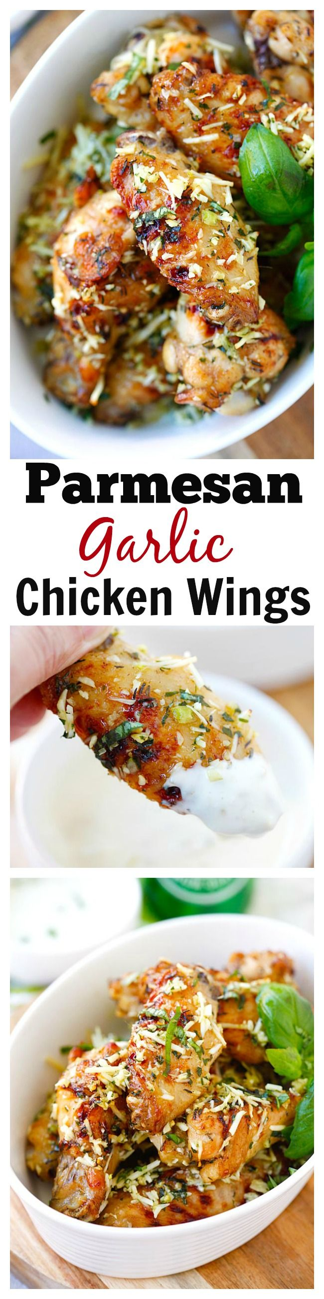 Baked Parmesan Garlic Chicken Wings – best and easiest baked chicken wings EVER with parmesan, garlic, basil, with blue cheese mustard dressing. Recipe from @steamykitchen | rasamalaysia.com