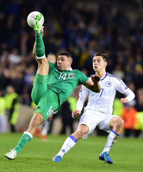 #EURO2016 Jon Walters of Republic of Ireland and Muhamed Besic BosniaHerzegovina during the Euro 2016 playoff second leg between Republic of Ireland and Bosnia...