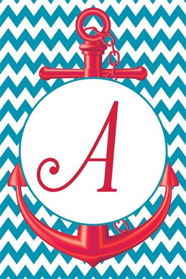 chevron anchor monogram letter  u0026quot a u0026quot  flag