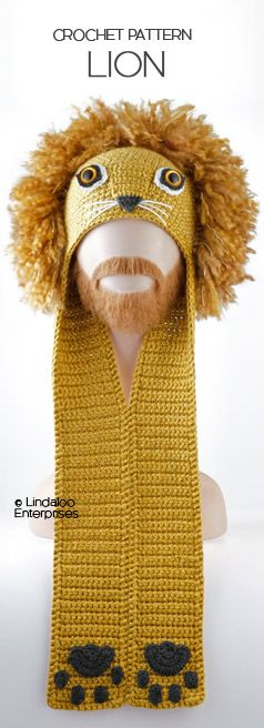 """LION HAT CROCHET PATTERN  from the book """"Amigurumi Animal Hats Growing Up"""" by Linda Wright. 20 crocheted animal hat patterns for Ages 6-Adult. Book available at Amazon.com and BarnesandNoble.com. http://www.amazon.com/dp/1937564991/"""