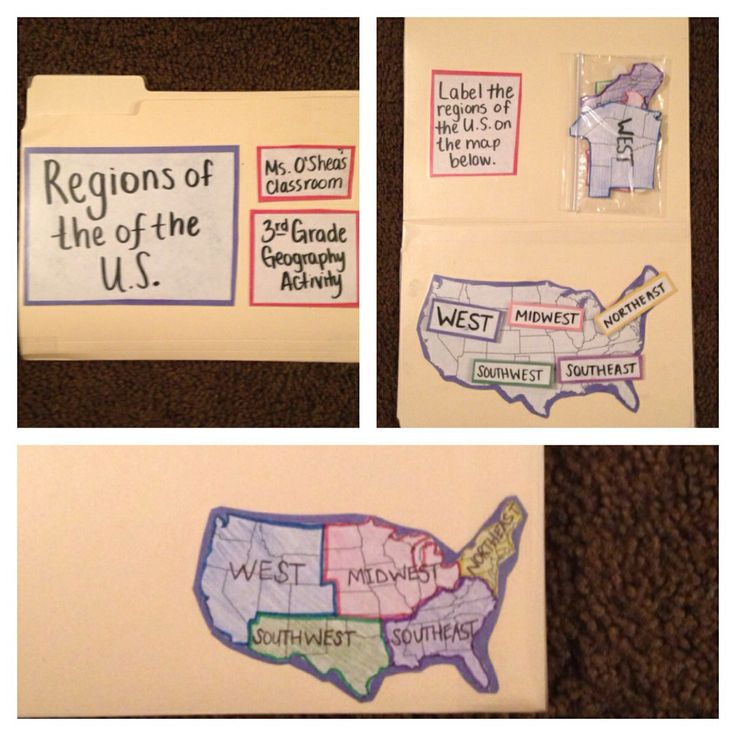 Regions of the United States. This is a 2nd grade geography activity. Students will label/match the regions of the United States. Students will have the option of matching the cut out regions or using written labels to label the five regions of the United States on a map provided. This activity practices a skill in the Illinois State Social Studies Standard 17.A.1a. Identify physical characteristics of places, both locals and global