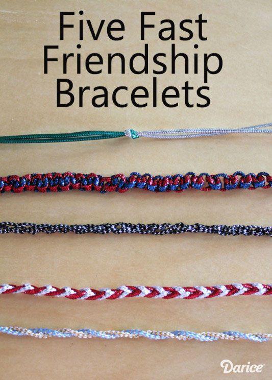 Five Fast Friendship Bracelet Designs - great boredom buster for kids!