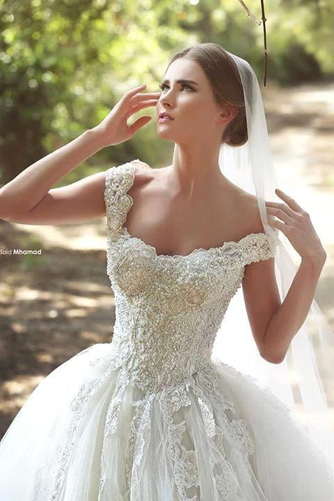 Nova romântico Tulle princesa vestido de noiva Mhamad 2015 frisada Lace apliques Off ombro do marfim vestidos de casamento vestidos de noiva em Vestidos de noiva de Casamentos e Eventos no AliExpress.com   Alibaba Group