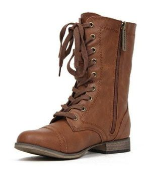 Georgia-21 Leather Lace Up Round Toe Mid-Calf Military Combat Boot