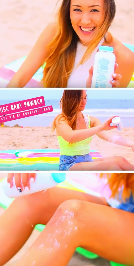 Use Baby Powder to Get Rid of Sand | 22 DIY Beach Hacks for Teens that will change your life!