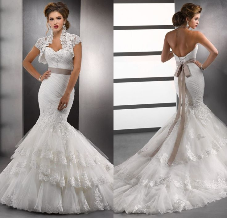 2014 White Lace Sweetheart Mermaid Wedding Dresses With Bolero Jackets Vintage China Hot Bridal Gowns pnina tornai wedding dress US $219.99