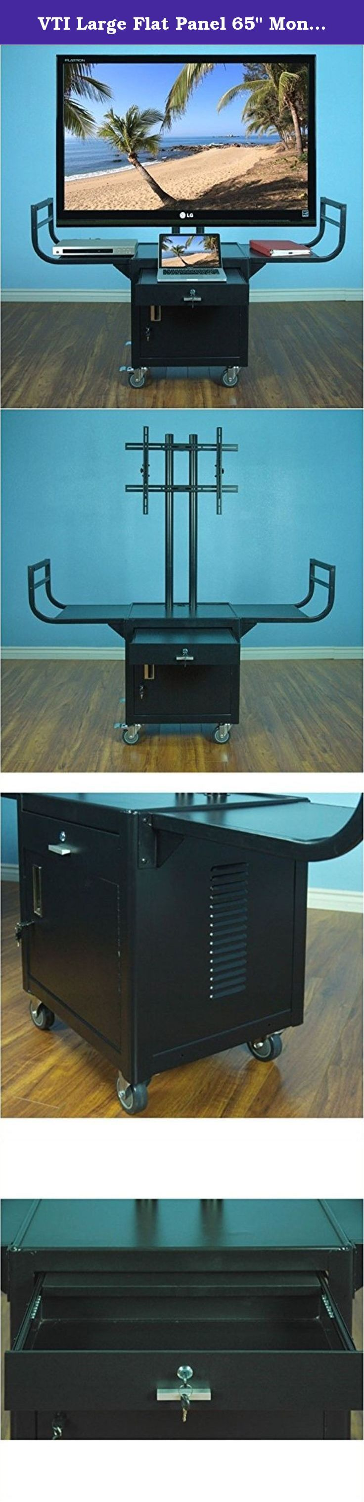 """VTI Large Flat Panel 65"""" Monitor Cabinet Cart in Black Powder Paint. Prepare large presentations quickly on a simple, mobile platform. Monitors are secured on via the universal twin mounting post. 3-in-1 handles permit ease of movement, TV screen protection and a wide, top shelf for additional presentation space. Includes cabinets to safely lock equipment when not in use. Features: Durable Steel Construction Black powder paint finish Swivel casters installed for easy mobility Lockable..."""