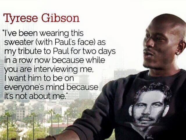 Thank you Tyrese for always thinking of your brother, much love and respect ✨