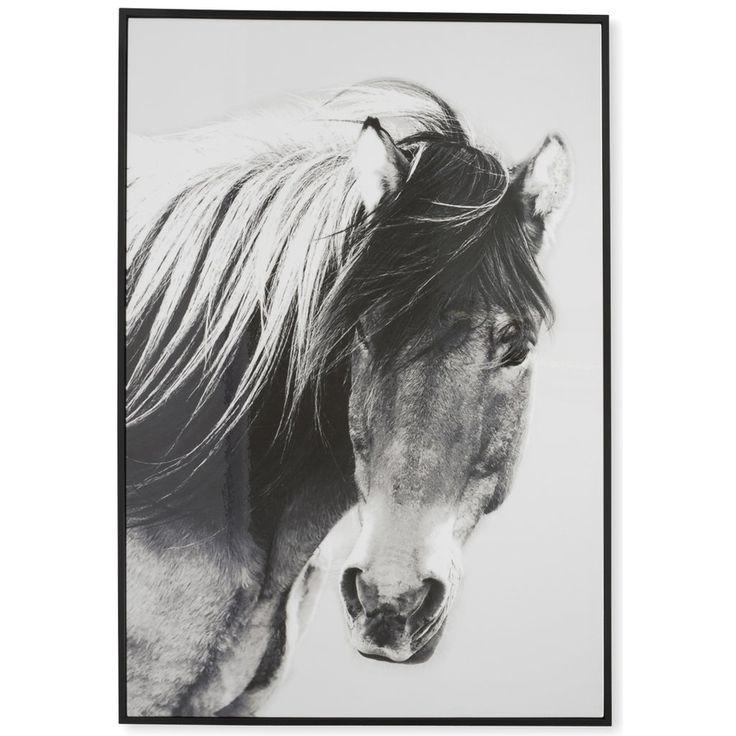 Wild Brumby Horse Black & White Wooden Framed Wall Art $145.90
