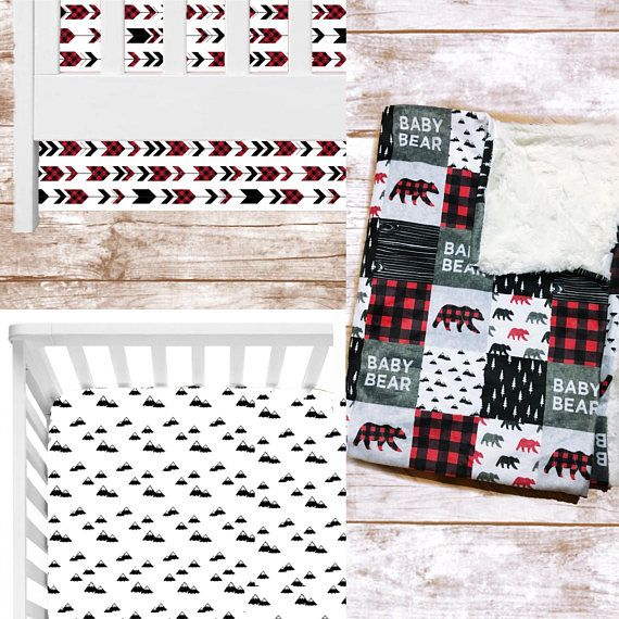 """This adorable rustic crib bedding set includes 3 items: 1.) Crib Sheet with mountain design: Made with 100% Cotton, elastic around the edges and fits a standard sized crib mattress. 2.) Crib Skirt, With red and black arrow design - 100% Cotton, straight tailored, 14"""" long. 3.) Crib"""