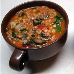 """❤Lentil Soup❤ - this is the best lentil soup I've had in a long time. Add 2 more carrots, 1 full box of defrosted spinach, double all the spices. Add 1/8 tsp. red pepper flakes. Use a 28 oz can of crushed tomatoes, add the 14.5 oz the recipe calls for, then use the rest mixed with 4 cups broth + 2 cups water (to make the 8 cups """"water""""). Lentils: use 1 cup brown + 1 cup red. 3 T. of lemon juice INSTEAD of vinegar, & a glug (1/4 cup) red wine. Trust me, ppl can't stop eating this soup! Delish…"""