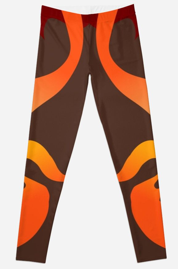 Leggings with fiery volcano design.