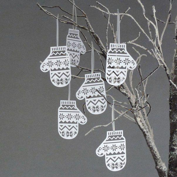 варежка из бумаги новый год декор